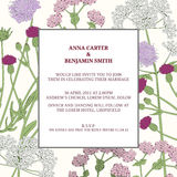 Floral frame with wild flowers and herbs. Wedding invitation template. Floral frame with wild flowers and herbs. Can be used for wedding invitation design Royalty Free Stock Images
