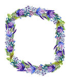 Floral frame with wildflowers Stock Images