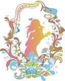 Floral Frame with Woman 1 vector illustration