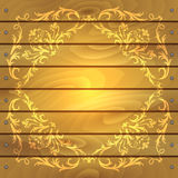 Floral frame on wood background Royalty Free Stock Images