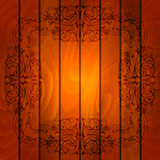 Floral frame on wood background Royalty Free Stock Photos