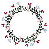 Floral frame: a wreath with berries and flowers vector illustration