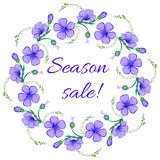 Floral frame, wreath design element. Season sale retro banner Stock Images