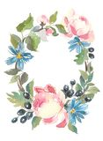Floral Frame. A wreath of watercolor roses. Perfect for wedding invitations and birthday cards. Wreath of garden flowers. Hand drawn artwork. Love concept for royalty free stock photo