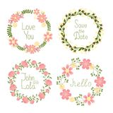 Floral frame wreaths for wedding invitations Stock Images