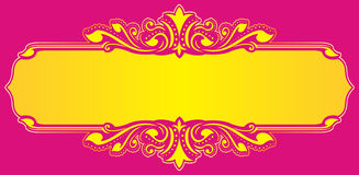 Floral frame yellow vector. On pink background for wedding name Stock Photos