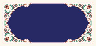 Floral frame for your design. Traditional Turkish � Ottoman ornament. Iznik. Vector background stock illustration