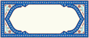 Floral frame for your design. Traditional Turkish � Ottoman ornament. Iznik. Vector background royalty free illustration