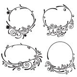Floral frames. Set of floral oval frames