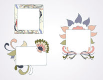 Floral Frames. Hand drawn floral elements surround frames for text or images Stock Photo