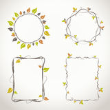Floral frames with autumn colors. Decorative light floral frames with twigs and leaves with autumn colors Royalty Free Stock Photo