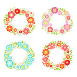 Floral frames in circle shapes with place for your text. Vector vintage collection Stock Images