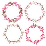 Floral frames decoration. Vector decorative elements in pink color. Can use for birthday card, wedding invitations Royalty Free Stock Image