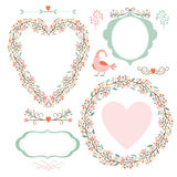 Floral frames and graphic elements Stock Images