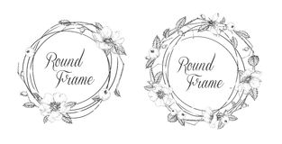 Floral frames for greeting cards or invitations. Black and white Royalty Free Stock Photos