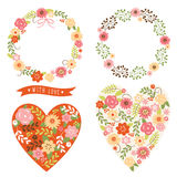 Floral frames and heart with flowers. Set of floral frames and heart with flowers Stock Photography