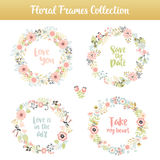 Floral frames with phrases Royalty Free Stock Image