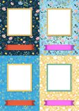Floral frames for picture with banners for text stock photos
