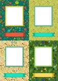 Floral frames for picture with banners for text stock image