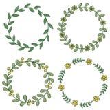 Floral frames. Set of decorative doodle floral frames Stock Photos