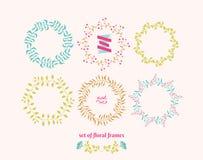 Floral frames. Set of vector floral elements for design Stock Images