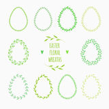 Floral frames in shape of egg Royalty Free Stock Photos