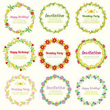 Floral frames and wreaths with flowers vector set Royalty Free Stock Images