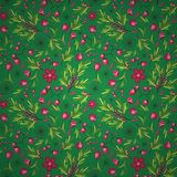 Floral, fruit and berry colorful seamless pattern Stock Photo