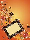 Floral funny frame for wedding photo Stock Photos