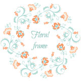 Floral garland. Flower border frame in pastel colors Royalty Free Stock Image