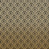 Floral Gatsby Art Deco Pattern Background Design. In Black and Gold vector illustration