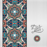 Floral geometric background, vintage ornamental. Design template for card, book, postcard, ethnic style invitation and greeting card, beautiful retro brochure Royalty Free Illustration
