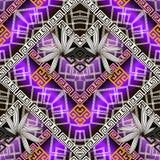 Floral geometric greek vector seamless pattern. Modern ornamenta. L colorful 3d background. Beautiful tiled waffle ornament wit greek key meanders shapes vector illustration