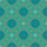 Floral geometric pattern, contemporary style. Floral linear vector seamless pattern in art deco style, 1930s or 1920s wallpaper design in emerald green color Royalty Free Stock Image