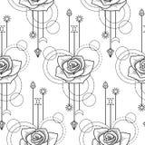 Floral geometric seamless pattern Royalty Free Stock Photos