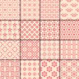 Floral and geometric seamless pattern. Red abstract backgrounds. Vector illustration Stock Photography