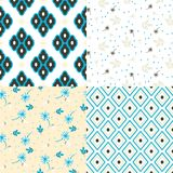 Floral and geometry seamless vector pattern set. Bright blue colors and beige repeat nature background for print. Flowers and rhombuses texture Royalty Free Stock Photography