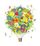 Floral gift, air balloon with flowers for your Stock Image