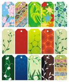 Floral gift tag set Stock Photos