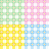 Floral gingham seamless patterns Stock Images