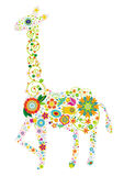 Floral giraffe. A giraffe design made with colorful flowers Stock Photography
