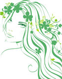 Floral girl. Beautiful young girl with flowers in hair Stock Photo