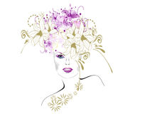 Floral girl. Abstract stylish girl with flowers Royalty Free Stock Image