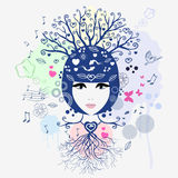 Floral girl. Vector illustration of an abstract portrait of a girl Royalty Free Stock Photos