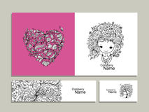 Floral girl, greeting card and banners for your design stock illustration