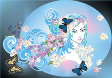 Floral girl portrait and butterflies Royalty Free Stock Photo