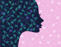 Floral girl silhouette Stock Images