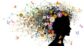 Floral girl silhouette Royalty Free Stock Photos