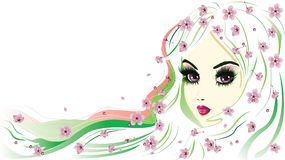 Floral Girl with White Hair Royalty Free Stock Image