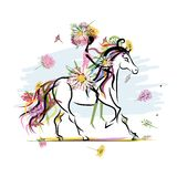 Floral girl on white horse for your design Stock Photo